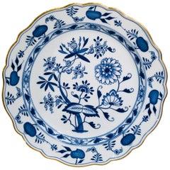 Antique 1815 Meissen Porcelain Blue Onion Pattern Large Round Serving Platter
