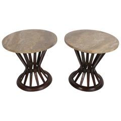 "Pair of Edward Wormley for Dunbar ""Sheaf of Wheat"" Tables with Travertine Tops"