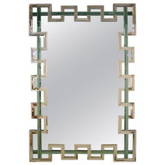 Contemporary Italian Geometric Murano Glass Mirror with Aqua Green Ribbon Decor