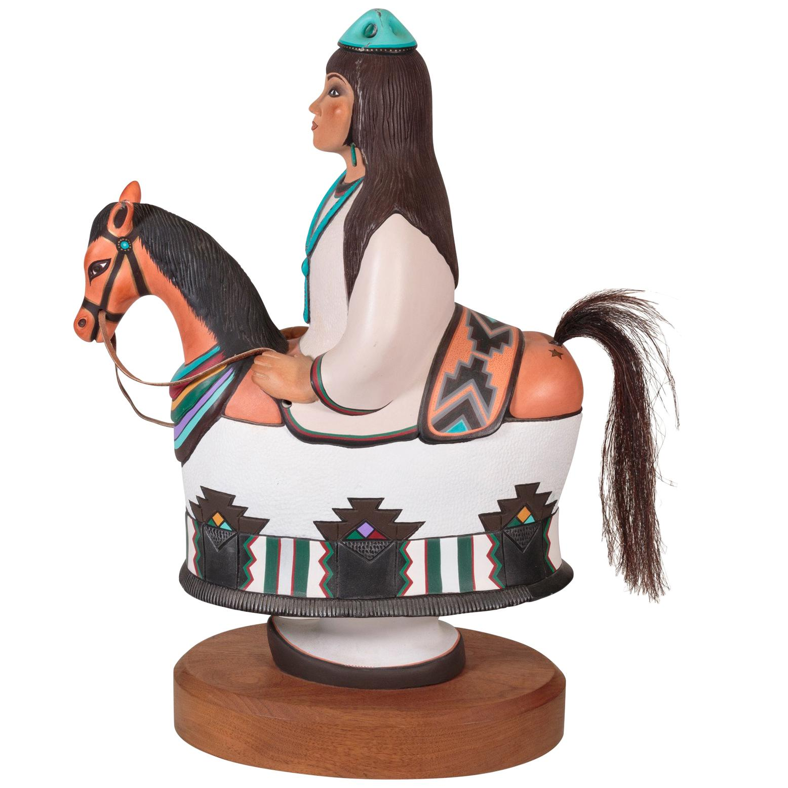 Lady on a Horse Painted Bronze Sculpture by Estella Loretto