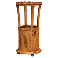 Early 20th Century French Carved Walnut and Cane Umbrella and Cane Stand