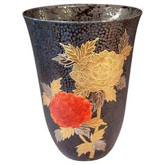 Large Japanese Gilded Black Red Porcelain Vase by Contemporary Master Artist