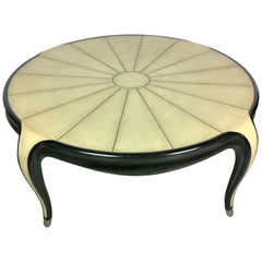 Art Deco Jallot Stlye Faux Shagreen Ebonized Wood & Brass Coffee/ Cocktail Table