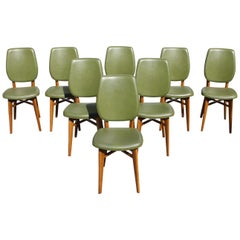 Classic Set of 8 French Art Deco Solid Mahogany Dining Chairs, circa 1940s