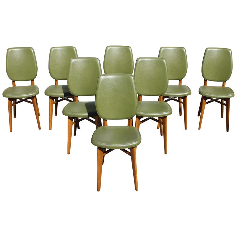 Classic Set of 8 French Art Deco Solid Mahogany Dining Chairs, circa 1940s For Sale