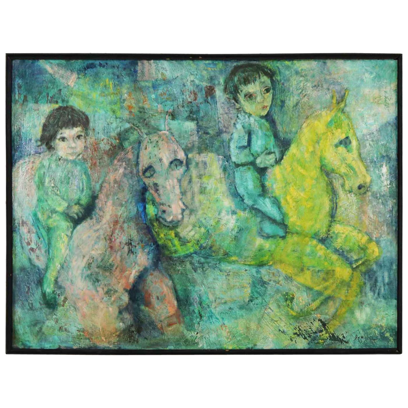 Vintage Impressionist Painting Children on Horseback by Brooks Woollcott Powell