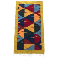 Handwoven Wool Rug/Tapestry after Escher