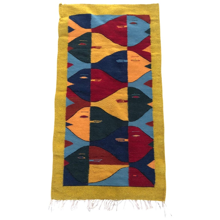 Handwoven Wool Rug Tapestry After Escher For Sale At 1stdibs