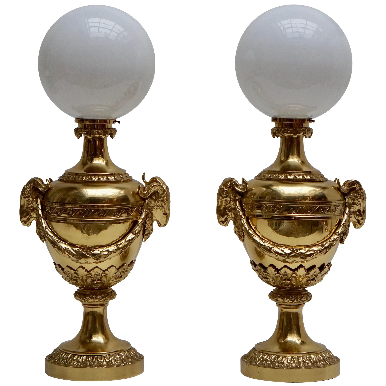 Pair of Mid-20th Century Hollywood Regency Rams Head Urn Lamps