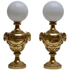 Pair of Mid-20th Century Hollywood Regency Rams Head Urn Lamps