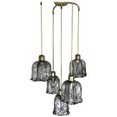 J.T. Kalmar Midcentury Cascading Textured Glass Brass Chandelier, 1960s, Austria