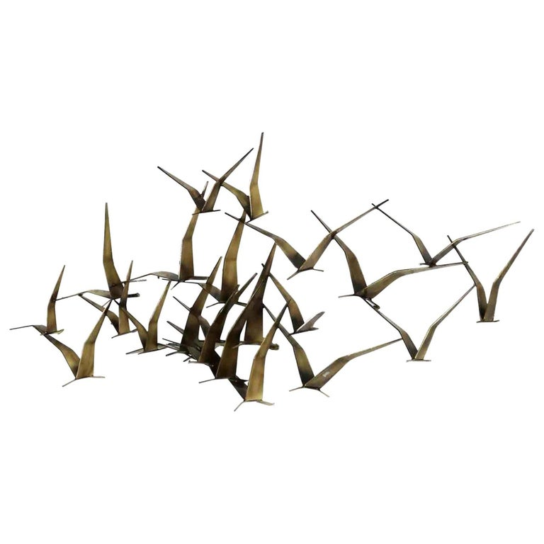 Curtis Jere Flock of Flying Birds Metal Wall Hanging Sculpture Signed Dated 1989 For Sale