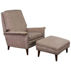 Mid-Century Modern Reclining Lounge Chair and Ottoman Style Wormley for Dunbar