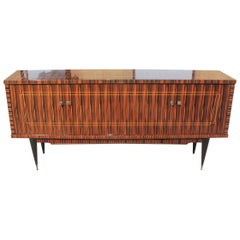 Classic French Art Deco Exotic Macassar Ebony Sideboard / Buffet / Bar 1940s
