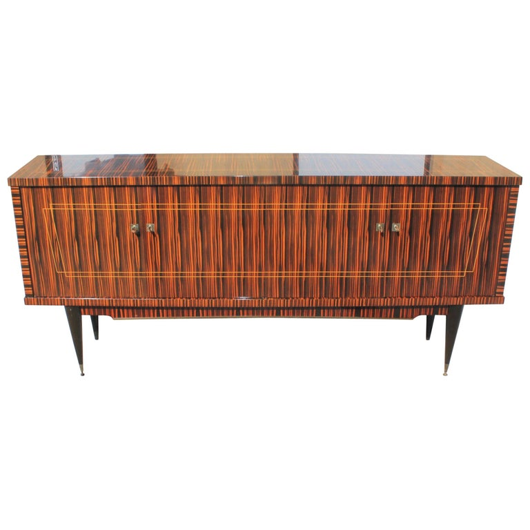 Classic French Art Deco Exotic Macassar Ebony Sideboard / Buffet / Bar 1940s For Sale