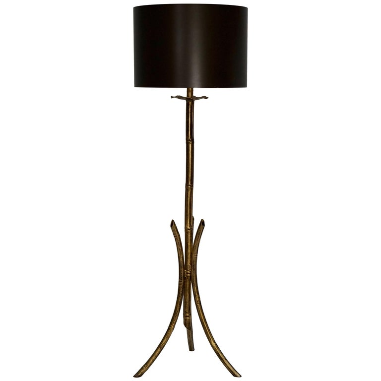 French Mid-Century Modern Gilt Iron Faux Bamboo Floor Lamp For Sale