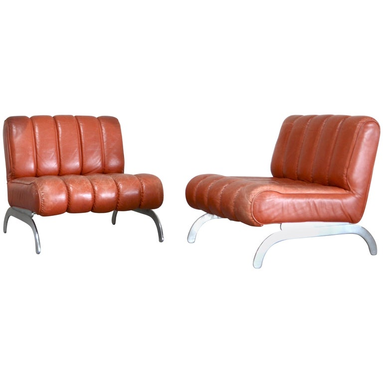 Pair of Wittmann Lounge Chair Leather Chairs Model Independence For Sale