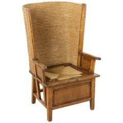 Late 19th Century Scottish Oak and Woven Straw Orkney Chair, Armchair, Bergere
