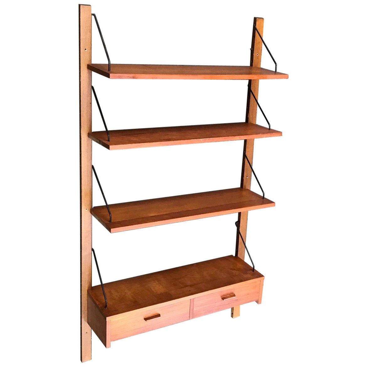 Danish Midcentury Floating Teak Wall Unit from PS System, 1960s