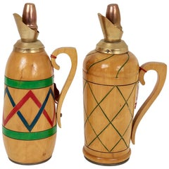 Pair of Thermos Pitchers in Wood Vintage, 1950s, Italy