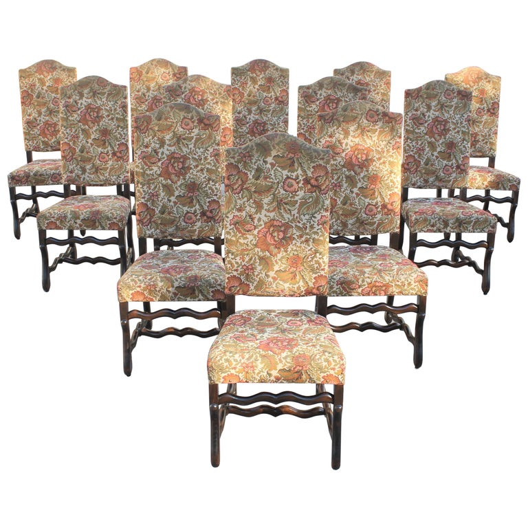 Set of 12 French Louis XIII Style Os De Mouton Dining Chairs 1900 Th Century.  For Sale