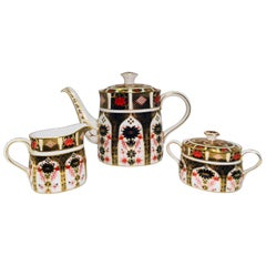 "Exquisite Royal Crown Derby ""Old Imari"" English Bone China Full Size Tea Set"