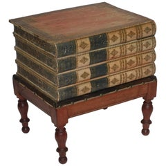 Regency Leather Faux Book Box on Painted Stand, English, circa 1830