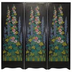 Art Deco Japanesque Silk Screen on Wood Folding Screen, American, circa 1920