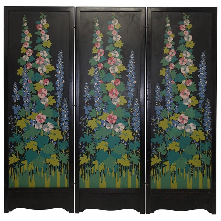 Art Deco Japanesque Silk Screen on Wood Folding Screen, American, circa 1920 For Sale