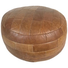 Mid-Century Modern De Sede Cognac Leather Patchwork DS80 Pouf, 1970s Switzerland