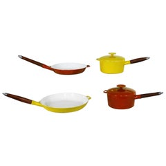 6 Pc Midcentury Danish Modern Enameled Cast Iron Cookware Michael Lax for Copco