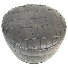 Mid-Century Modern De Sede Grey Leather Patchwork Pouf, 1970s, Switzerland