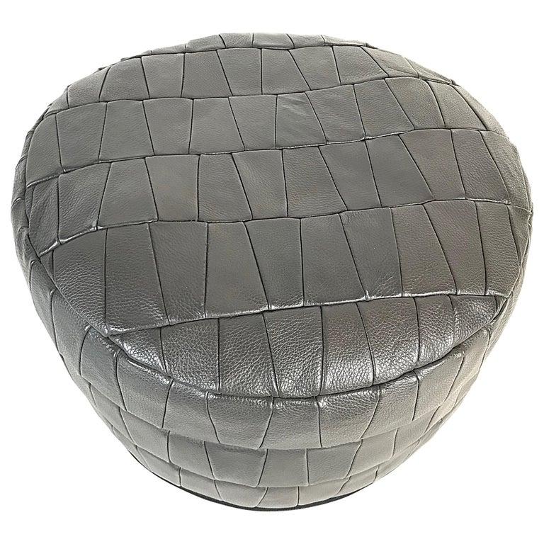 Mid-Century Modern Grey De Sede Leather Patchwork Pouf, 1970s, Switzerland For Sale