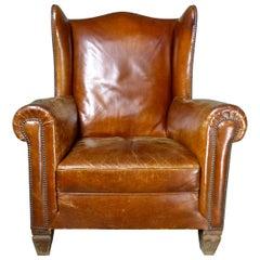 1920s Italian Leather Wingback Armchair