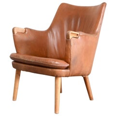 Hans Wegner Cognac Leather Mini Bear Chair Lounge AP 20 for AP Stolen