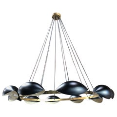 Vintage Oversize Round Brass Chandelier with 8 Lights, Italy, 1960s
