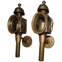 Elegant Pair of French Turn of the Century Coach Lamps Sconces