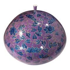 Japanese Contemporary Blue Gold Porcelain Vase by Master Artist