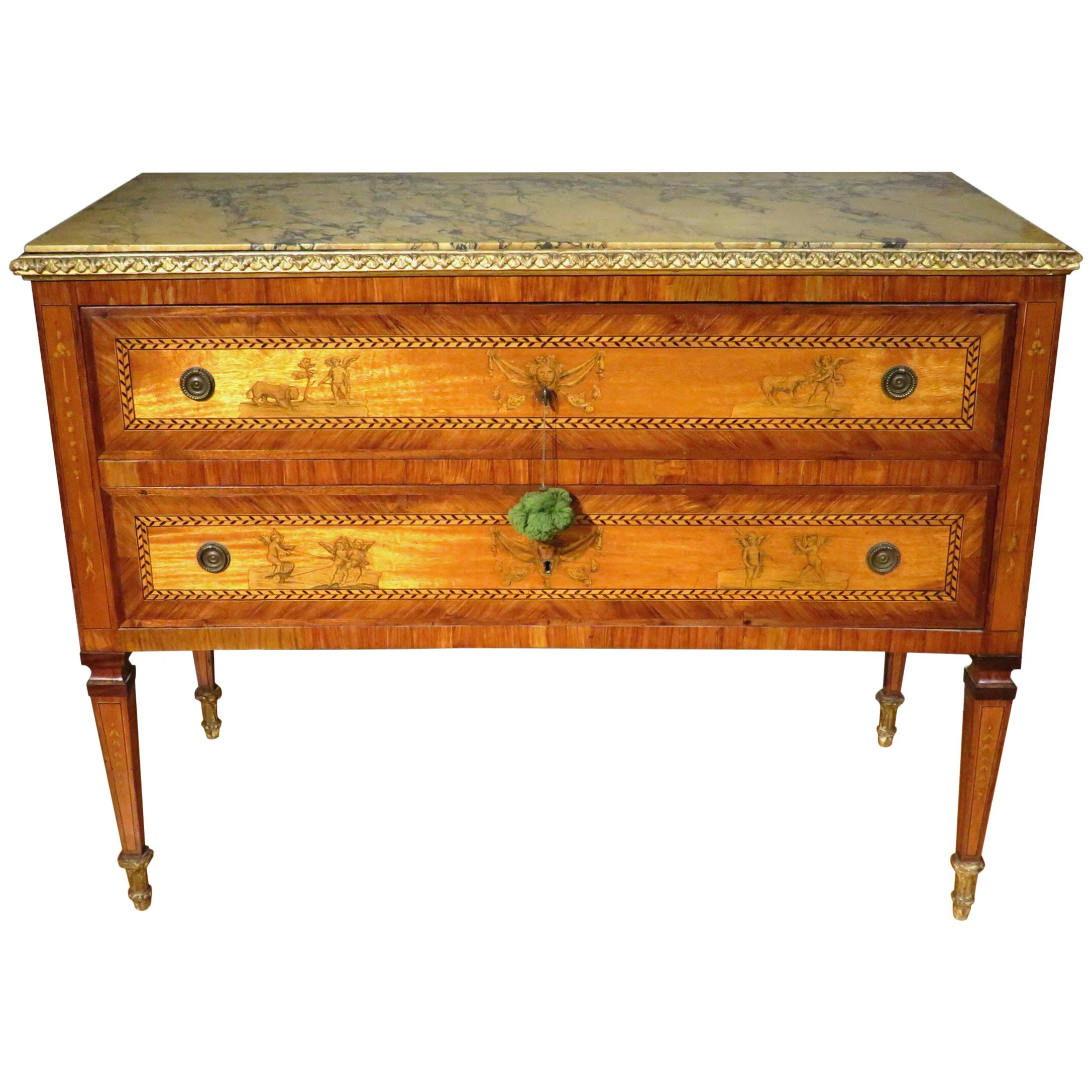 Exceptional 18th Century Italian Neoclassical Parquetry and Marquetry Commode