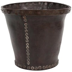 Distressed and Riveted Leather Wastebasket
