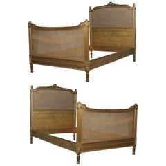 Pair Antique R.J. Horner Giltwood and Pressed Cane French Style Twins Beds