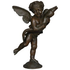 Classical Bronzed Figural Sculpture Fountain Head, Cherub with Fish 20th Century