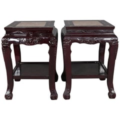 Figural Chinese Mother of Pearl Inlaid Carved Hardwood Marble-Top Tables