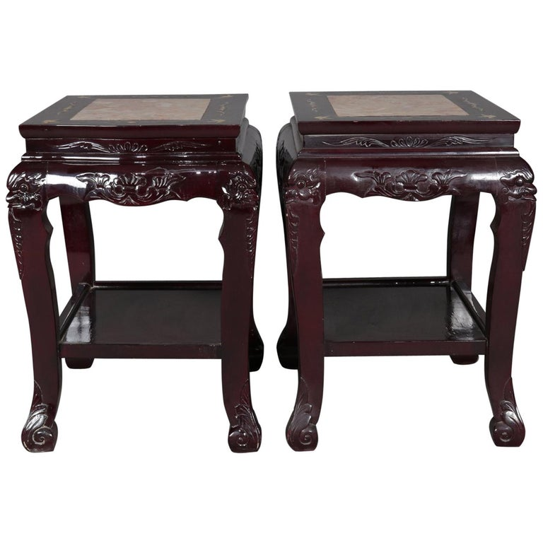 Figural Chinese Mother of Pearl Inlaid Carved Hardwood Marble-Top Tables For Sale