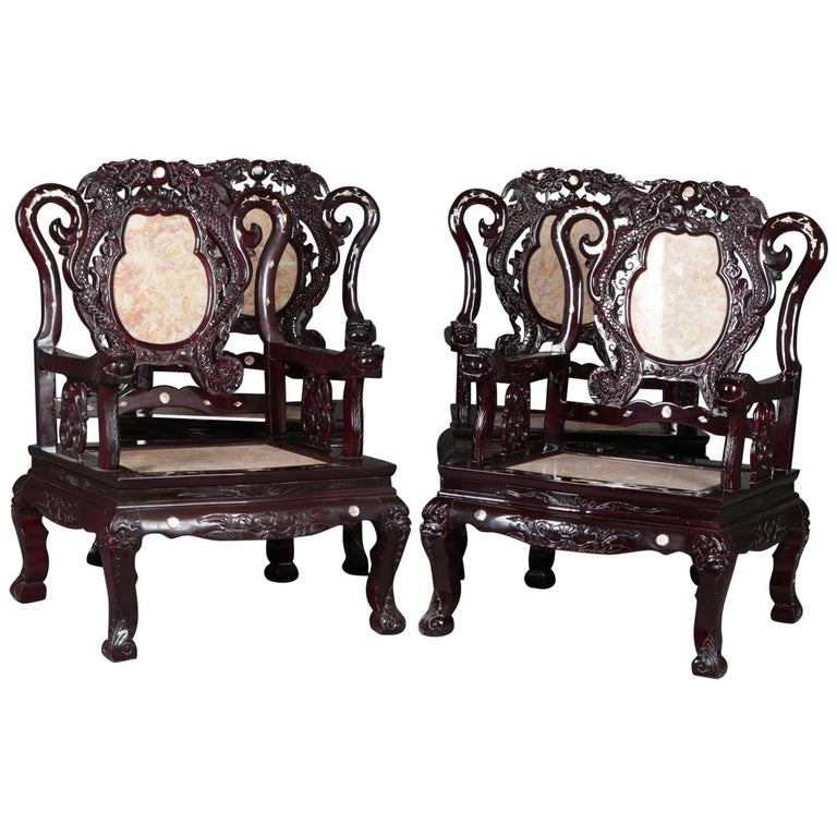 4 Figural Chinese Mother of Pearl Inlaid Carved Hardwood Marble Chairs For Sale