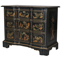 Chinoiserie Gilt Decorated Et Cetera Serpentine 3-Drawer Chest by Drexel