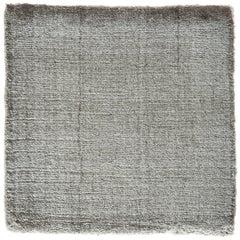 "Solider Grauer Teppich, Handgefertigt, Bambus Seide, Bonn ""Belfast - Silber Grau"""