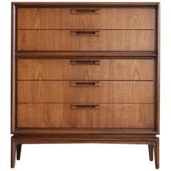 Mid-Century Modern Walnut Highboy Garrison Dresser