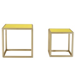 Collection of Two Brass Low Tables, Leather Top, One of a Kind by P. Tendercool