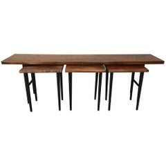 Long Rosewood Table with 3 Small Nesting Tables